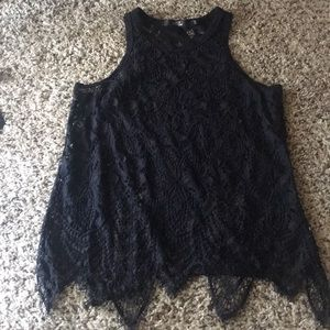 BKE Boutique Black see through lace tank